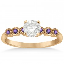 Amethyst Bezel Set Engagement Ring Setting 14k Rose Gold 0.09ct