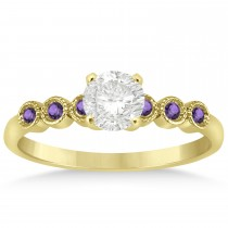 Amethyst Bezel Accented Engagement Ring 14k Yellow Gold 0.09ct
