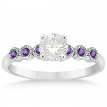Amethyst Bezel Accented Engagement Ring 18k White Gold 0.09ct