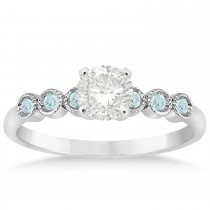 Aquamarine Bezel Accented Engagement Ring 14k White Gold 0.09ct