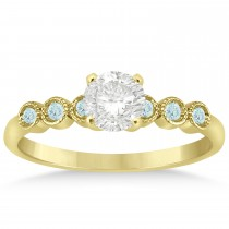 Aquamarine Bezel Accented Engagement Ring 14k Yellow Gold 0.09ct