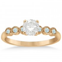 Aquamarine Bezel Accented Engagement Ring 18k Rose Gold 0.09ct