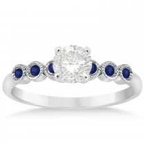 Blue Sapphire Bezel Accented Engagement Ring 14k White Gold 0.09ct