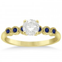 Blue Sapphire Bezel Accented Engagement Ring 14k Yellow Gold 0.09ct