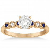 Blue Sapphire & Diamond Bezel Set Engagement Ring 14k Rose Gold 0.09ct