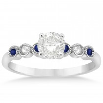 Blue Sapphire & Diamond Bezel Set Engagement Ring 14k White Gold (0.09ct)