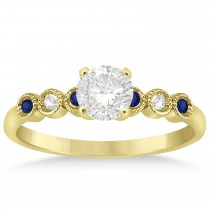 Blue Sapphire & Diamond Bezel Accented Engagement Ring 14k Yellow Gold 0.09ct