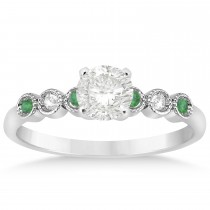 Emerald & Diamond Bezel Engagement Ring 14k White Gold 0.09ct