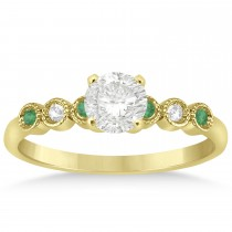 Emerald & Diamond Bezel Engagement Ring 14k Yellow Gold 0.09ct