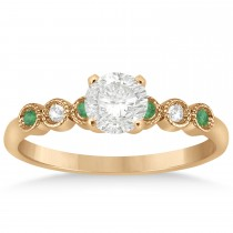 Emerald & Diamond Bezel Engagement Ring 18k Rose Gold 0.09ct