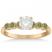 Emerald Bezel Set Engagement Ring Setting 14k Rose Gold 0.09ct