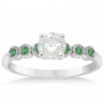 Emerald Bezel Accented Engagement Ring 14k White Gold 0.09ct