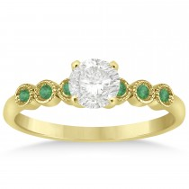 Emerald Bezel Set Engagement Ring Setting 14k Yellow Gold 0.09ct