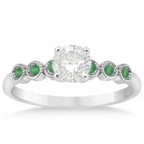 Emerald Bezel Set Engagement Ring Setting Platinum 0.09ct