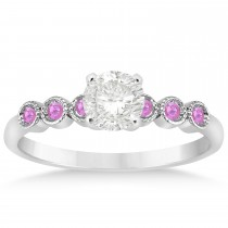 Pink Sapphire Bezel Accented Engagement Ring 14k White Gold 0.09ct