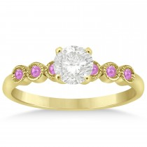 Pink Sapphire Bezel Accented Engagement Ring 14k Yellow Gold 0.09ct