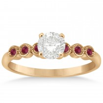 Ruby Bezel Accented Engagement Ring 14k Rose Gold 0.09ct