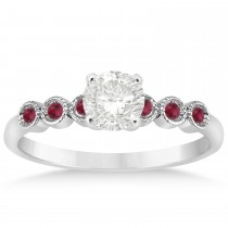 Ruby Bezel Accented Engagement Ring 14k White Gold 0.09ct
