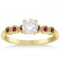 Ruby Bezel Set Engagement Ring Setting 14k Yellow Gold 0.09ct