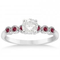 Ruby Bezel Set Engagement Ring Setting 18k White Gold 0.09ct
