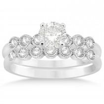 Diamond Bezel Accented Bridal Set 14k White Gold 0.19ct