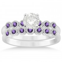 Amethyst Bezel Accented Bridal Set 14k White Gold 0.19ct