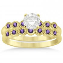 Amethyst Bezel Set Bridal Set 14k Yellow Gold 0.19ct