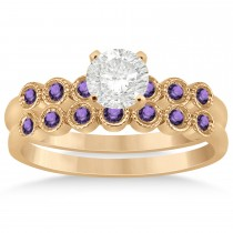Amethyst Bezel Set Bridal Set 18k Rose Gold 0.19ct