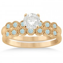 Aquamarine Bezel Accented Bridal Set 14k Rose Gold 0.19ct