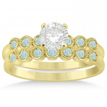 Aquamarine Bezel Set Bridal Set 14k Yellow Gold 0.19ct