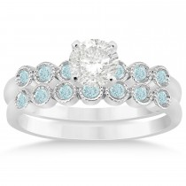 Aquamarine Bezel Set Bridal Set 18k White Gold 0.19ct