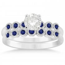Blue Sapphire Bezel Accented Bridal Set 14k White Gold 0.19ct