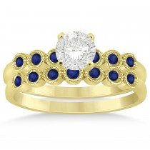 Blue Sapphire Bezel Set Bridal Set 14k Yellow Gold 0.19ct