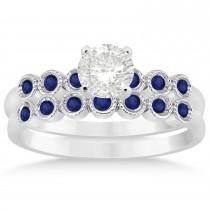 Blue Sapphire Bezel Set Bridal Set 18k White Gold 0.19ct