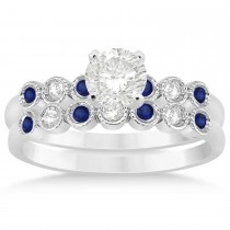 Blue Sapphire & Diamond Bezel Set Bridal Set 14k White Gold (0.19ct)
