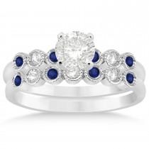 Blue Sapphire & Diamond Bezel Accented Bridal Set 14k White Gold 0.19ct