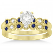 Blue Sapphire & Diamond Bezel Set Bridal Set 14k Yellow Gold 0.19ct