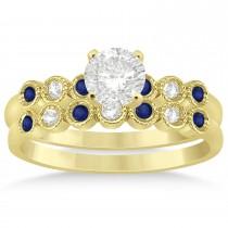 Blue Sapphire & Diamond Bezel Accented Bridal Set 14k Yellow Gold 0.19ct