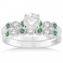 Emerald & Diamond Bezel Set Bridal Set 14k White Gold 0.19ct