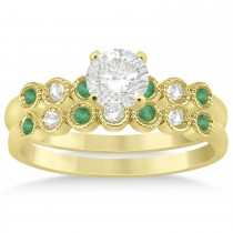 Emerald & Diamond Bezel Set Bridal Set 14k Yellow Gold 0.19ct
