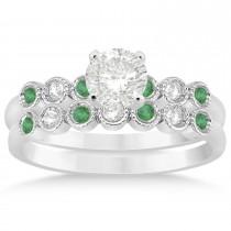 Emerald & Diamond Bezel Set Bridal Set Platinum 0.19ct