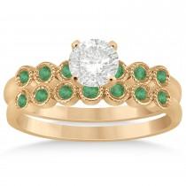 Emerald Bezel Set Bridal Set 14k Rose Gold 0.19ct