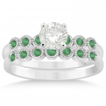 Emerald Bezel Accented Bridal Set 14k White Gold 0.19ct