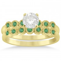 Emerald Bezel Accented Bridal Set 14k Yellow Gold 0.19ct