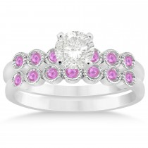 Pink Sapphire Bezel Accented Bridal Set 14k White Gold 0.19ct