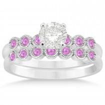 Pink Sapphire Bezel Set Bridal Set 18k White Gold 0.19ct