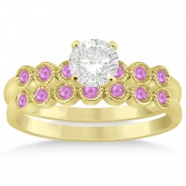 Pink Sapphire Bezel Set Bridal Set 18k Yellow Gold 0.19ct