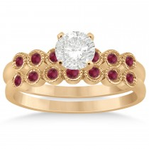 Ruby Bezel Set Bridal Set 14k Rose Gold 0.19ct