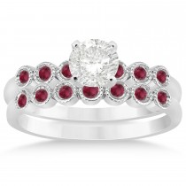 Ruby Bezel Accented Bridal Set 14k White Gold 0.19ct