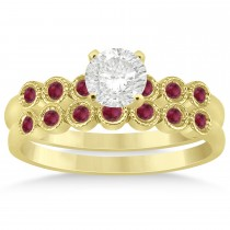 Ruby Bezel Set Bridal Set 14k Yellow Gold 0.19ct
